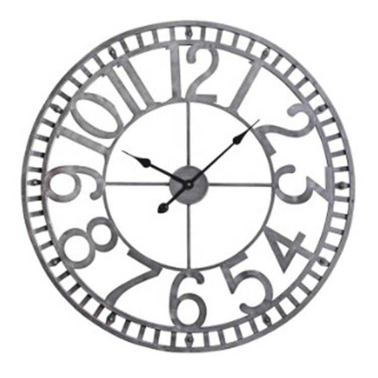 Huge Metal 3D Quartz Modern Design Arabic Number Silver Decorative Wall Clock for Home Decoration