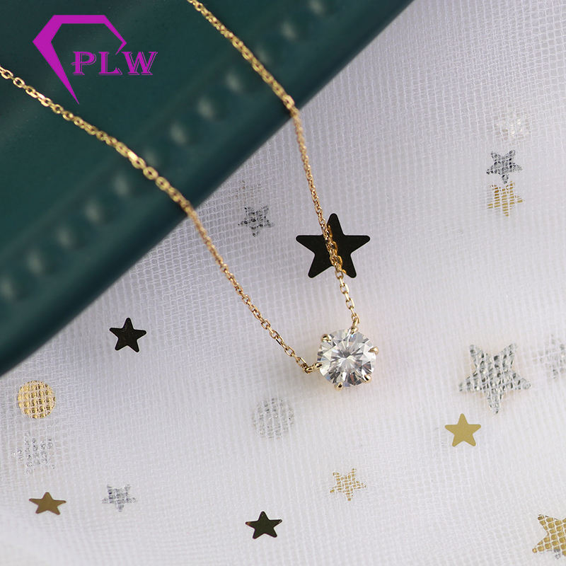 16inches long 18k yellow gold Cable chain 1.2carat moissanite diamond pendant necklace as gifts