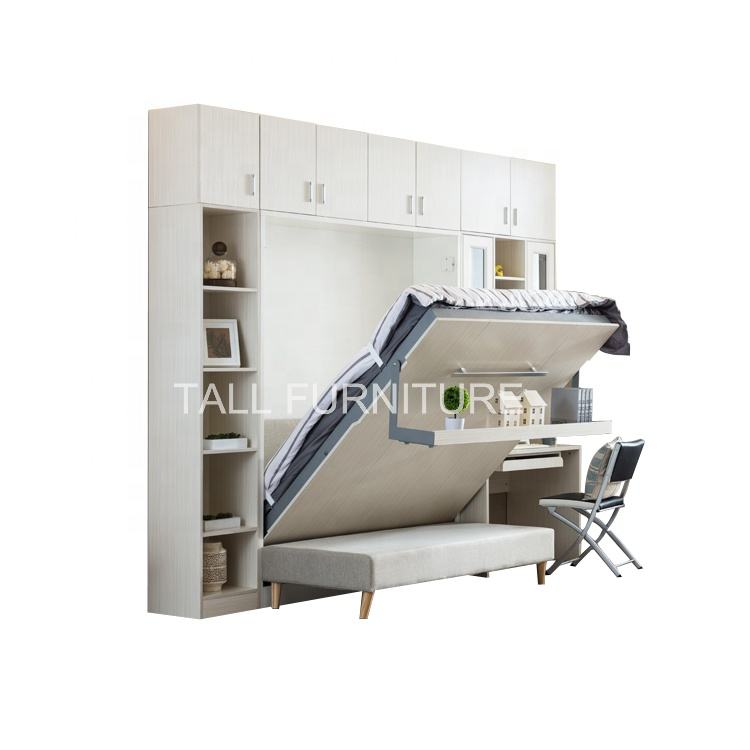 Space Saving White Vertical Sofa Folding Wall Bed Mechanism Murphy Bed With Sofa