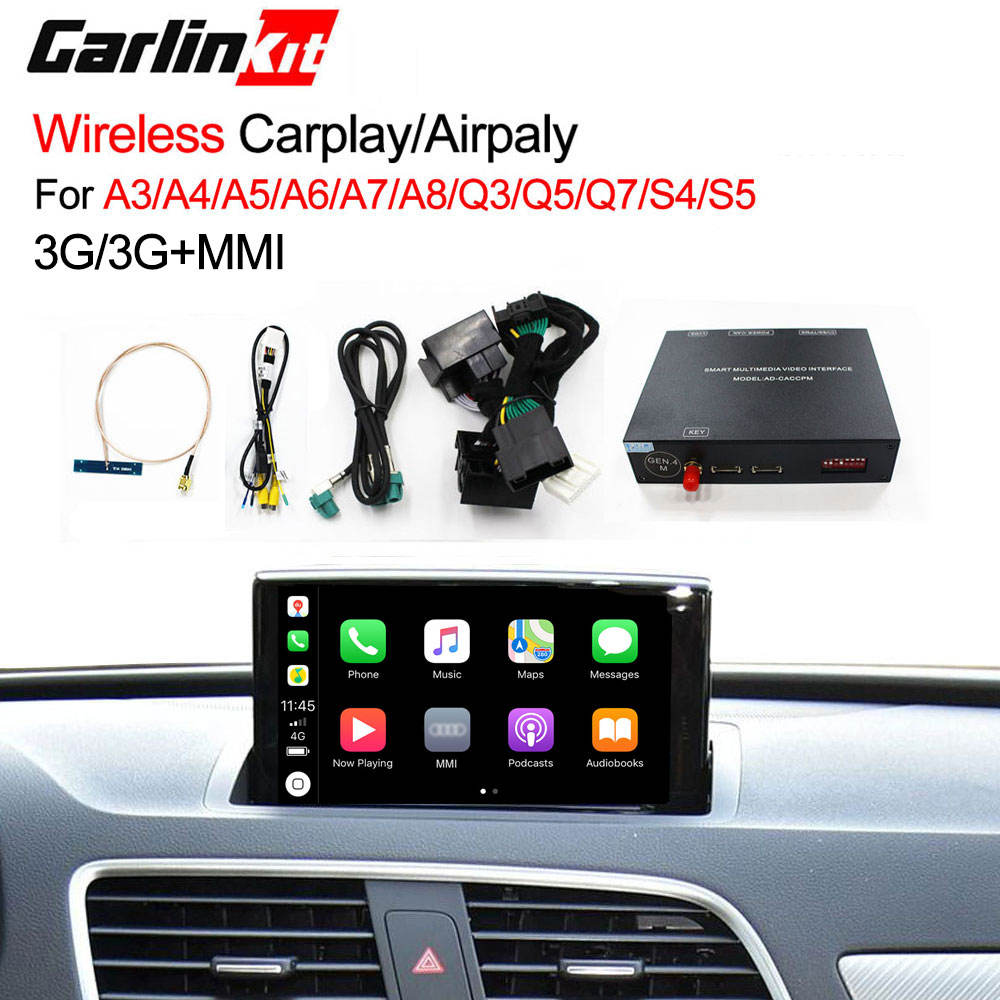 Inalámbrico Carplay caja AirPlay enlace espejo android auto para <span class=keywords><strong>Audi</strong></span> A3/A4/A5/A6/A7/ a8/Q3/Q5/Q7/S4/S5 <span class=keywords><strong>MMI</strong></span>