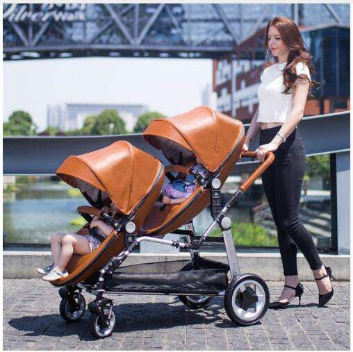 Free shipping Twin baby stroller luxury high landscape eggshell double pram folding light kid carriage semaco