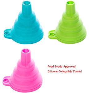 Kitchen accessories funnel mini foldable silicone funnel