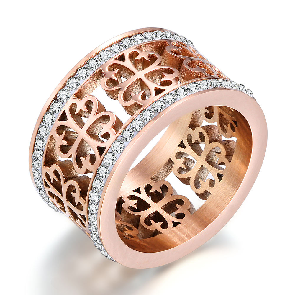Fashion Trendy Flower Vintage Stainless Steel 2 Row Zircon Crystal Flower Wedding Rings For Women