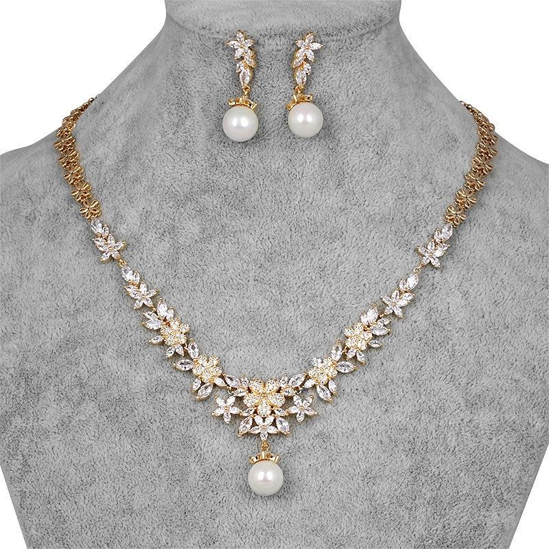 Genya Emas Zircon Kalung Set Pernikahan <span class=keywords><strong>Aksesoris</strong></span> Pesta <span class=keywords><strong>Pengantin</strong></span> Set Kalung Anting-Anting Fashion Perhiasan Set