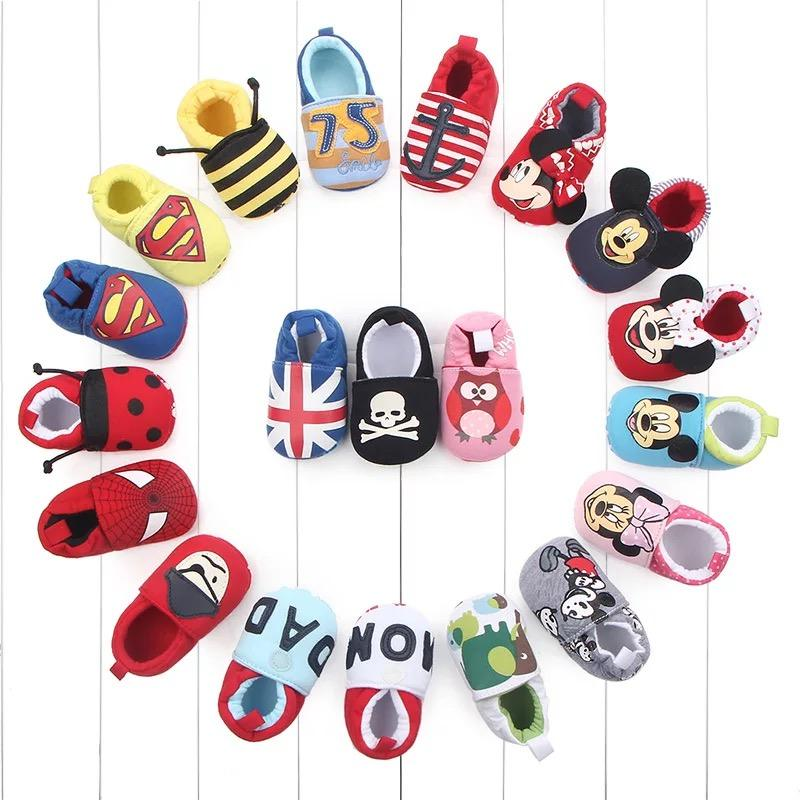 Wholesale Guangzhou Baby Cotton Shoes Super Captain Printed Soft Newborn Baby Shoes