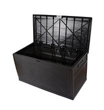 450 Liter 118 Gallon Plastic Waterproof Wicker Rattan Outdoor Garden Cushion Storage Chest Box with Handles Lids