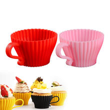Hot Sale Reusable Non-stick Silicone Baking Cups/ Muffin Cupcake Liners Round Backing Mold For Gelatin, Snacks, Frozen Treats