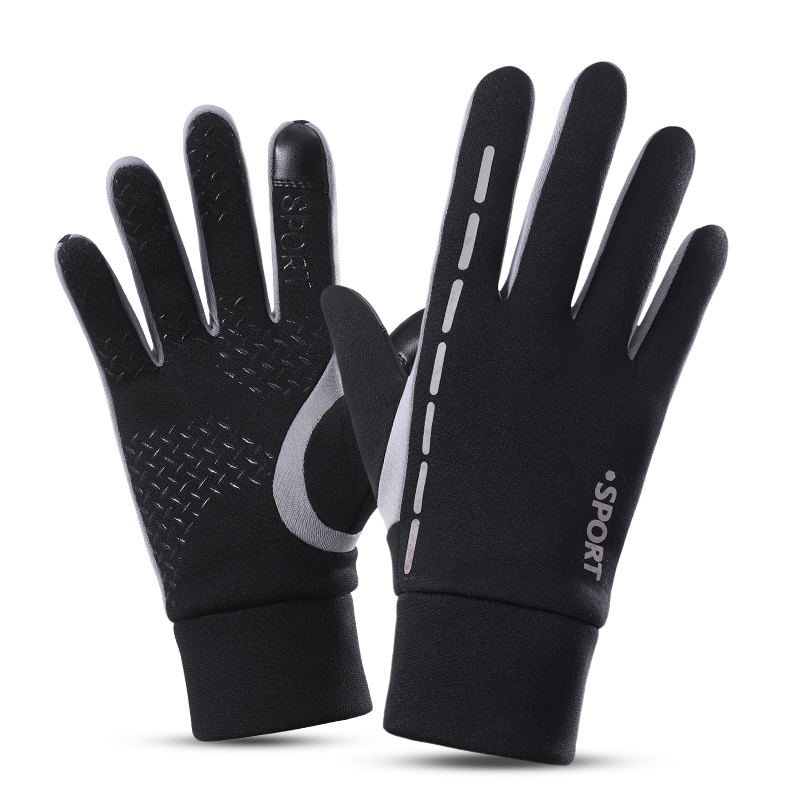 Custom logo safety reflective stripe running bike riding touch men winter gloves