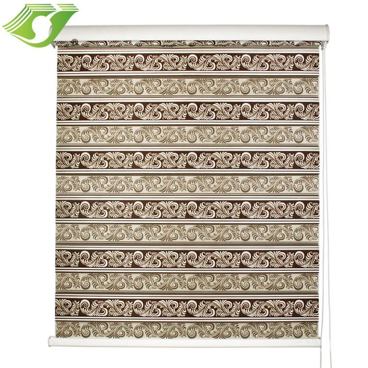 Manual printed double layer zebra horizontal double layer blinds for window printed roller shades dustproof fabric
