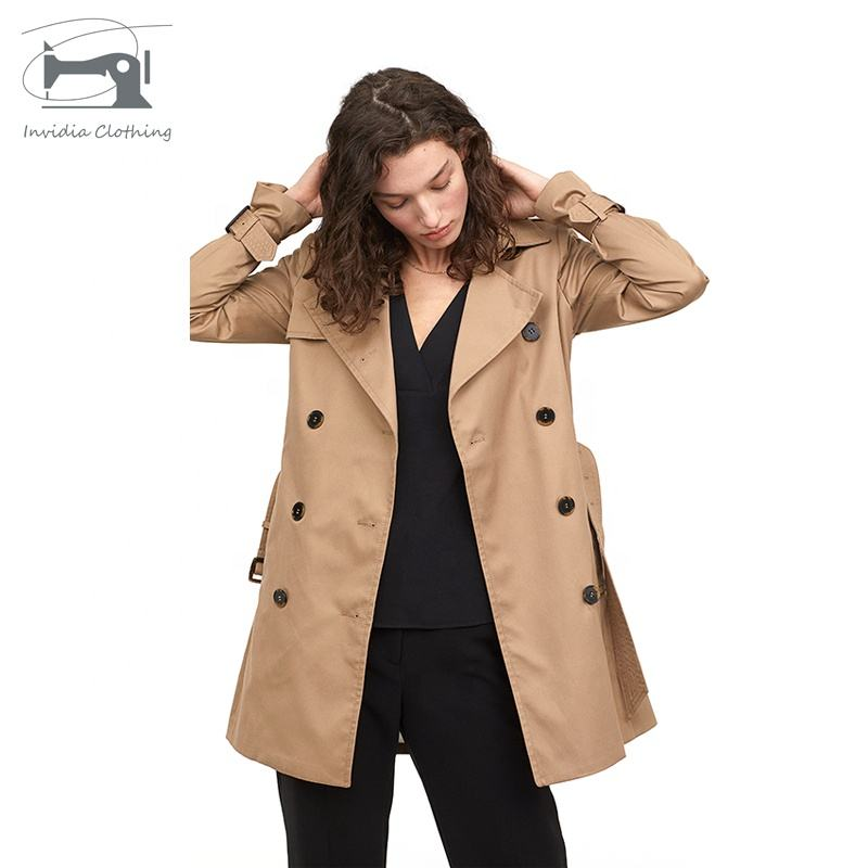High Quality European Flowing double breasted trench coat women Slim Trench Coat For Women