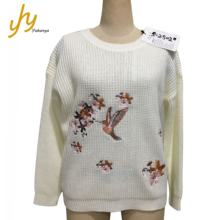 Factory Price White Customized Computer Embroidery Sweater