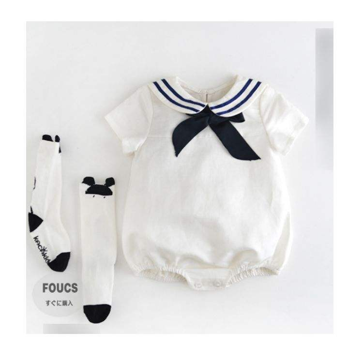 Summer short sleeve clothes Newborn Baby Sailor Romper Navy Suit Grow Outfit