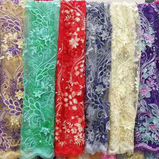 2021 new fashion french lace fabric with 3d flower embroidery in chowleedee CL63029