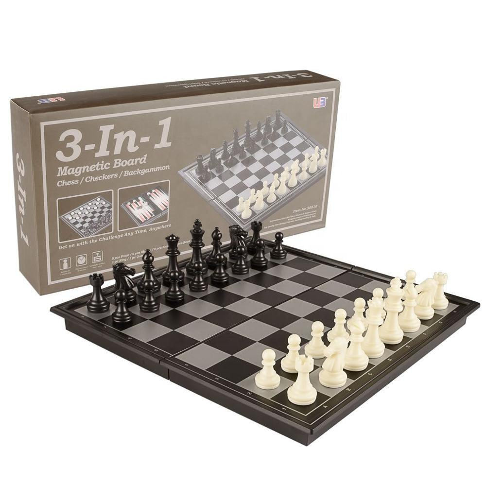 3 in 1 Travel Magnetic Chess, Checkers, Backgammon Chess Game Set with Chess Board