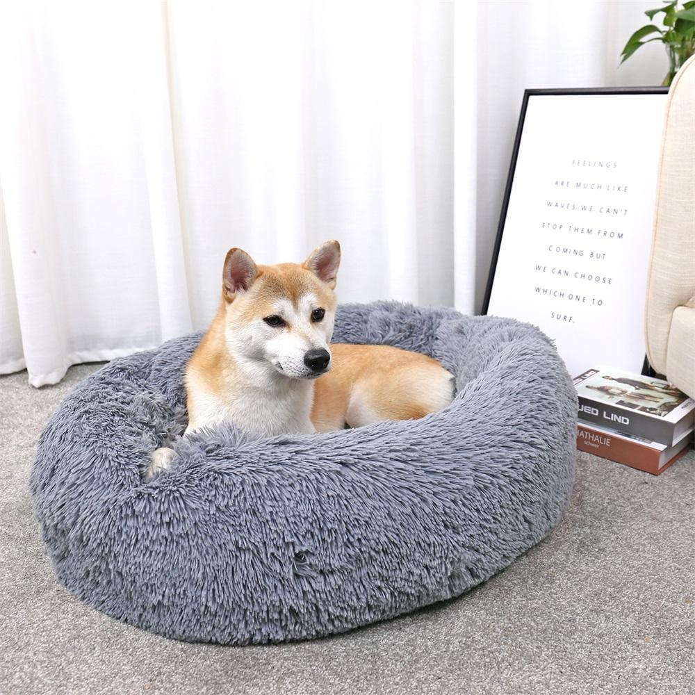 Luxury Pet Dog Beds Round Houses Long Wool Puppy Kennel Kitten Washable Cushion for Dogs Towels