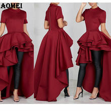 Floor Length Short Sleeve Asymmetrical Ruffles A-Line Cocktail Dress For Fat Women