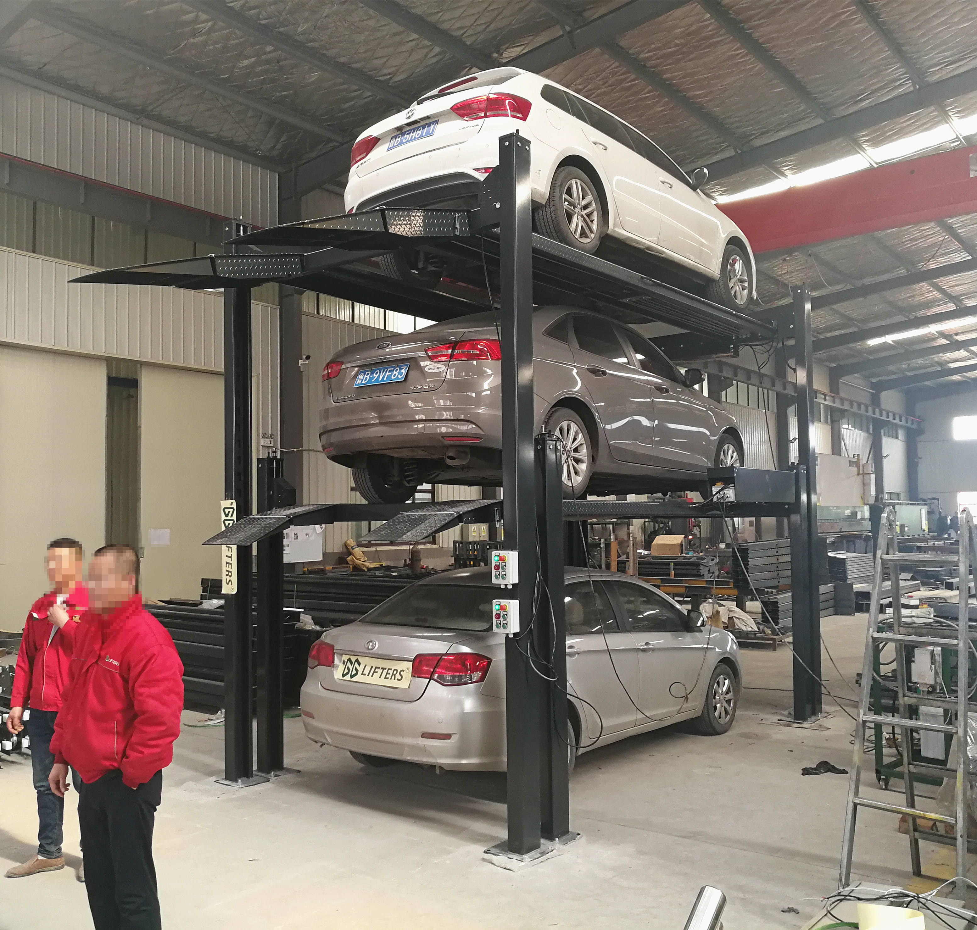 Made in China 4 Post Hydraulic Car Park Lift Four Post Double Parking Lift