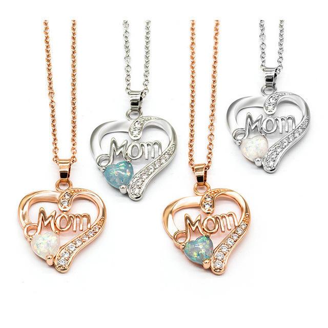En gros Personnalisé Coeur Maman Fête des Mères Cadeau Opale Zircon En Acier Inoxydable Laiton 925 SilverJewelry Collier