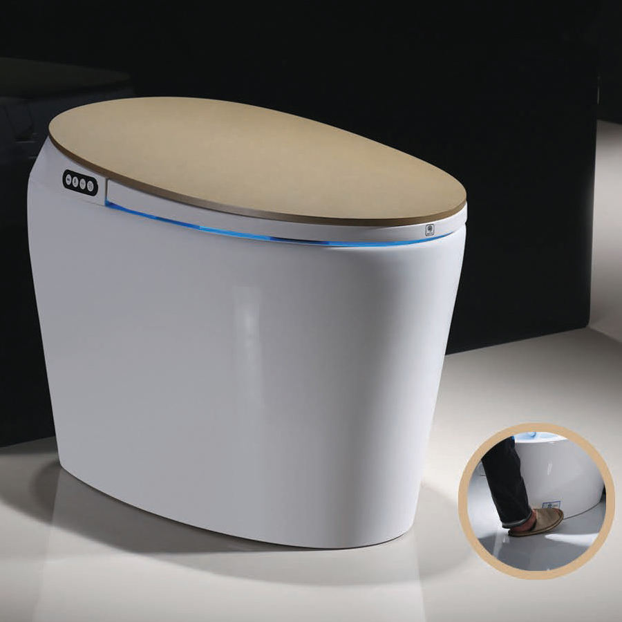 China supplier gold color siphonic one piece smart wc toilet CE certificate