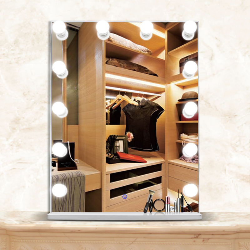 Large Desktop cosmetic mirror Hollywood Style Vanity makeup mirror with led light