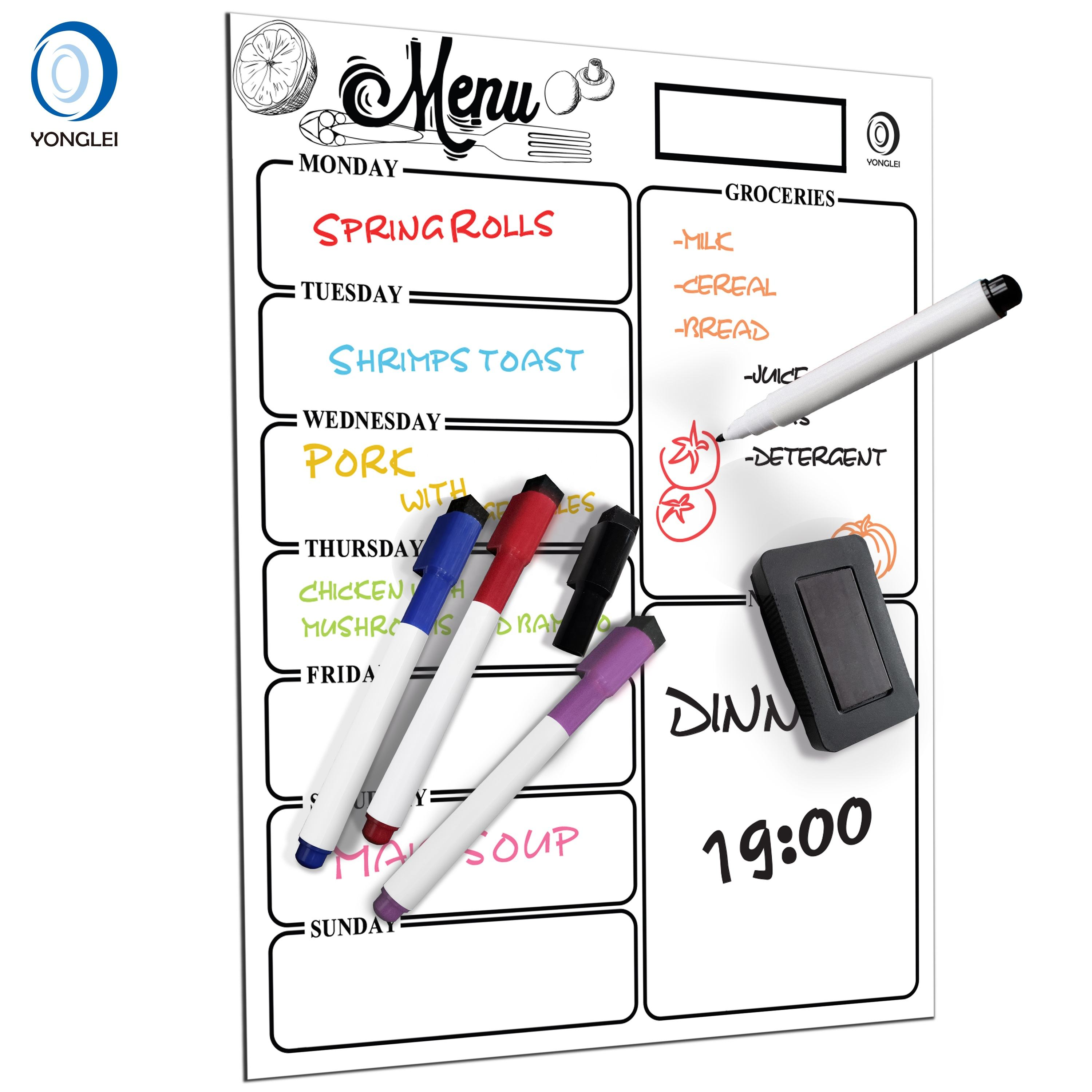 8.2-1A2 Dry erase magnetic eraser meal planner magnetic boards for kitchen