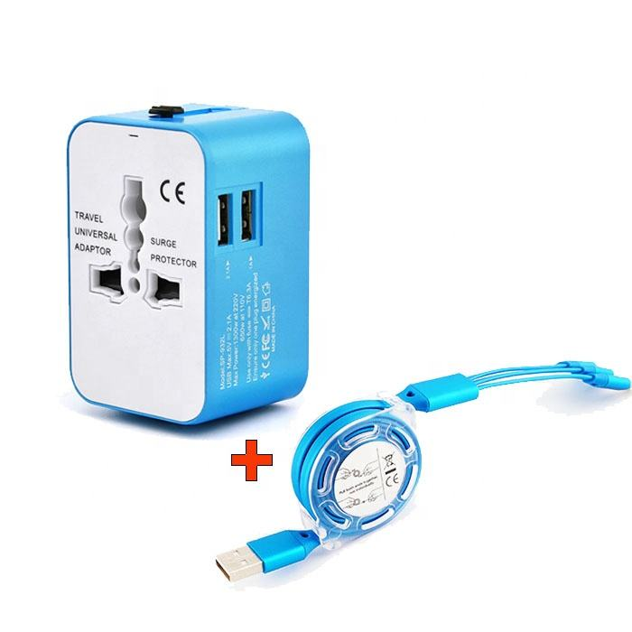 โรงงาน UK EU US ปลั๊กไฟ 2.1A Dual USB Universal travel adapter universal USB ชุดสาย USB