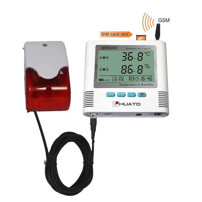 Gsm Sıcaklık Nem Izleme Alarmı Sıcaklık Veri Kaydedici/Gsm Sms Sıcaklık Kontrol Alarmı Huato S500-Th-Gsm