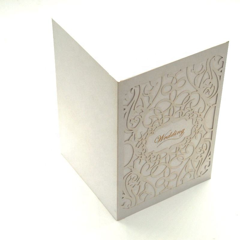 Wholesale Luxury Laser Cut Sliver Glitter Pearl Paper Wedding Invitations With Gold Foil Stamping Logo