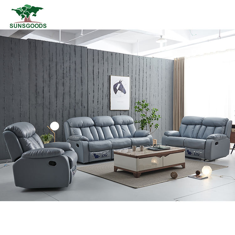 Custom sofa set 5 seater with recliner china, electric reclining luxury Italian recliner sofa set with lounge