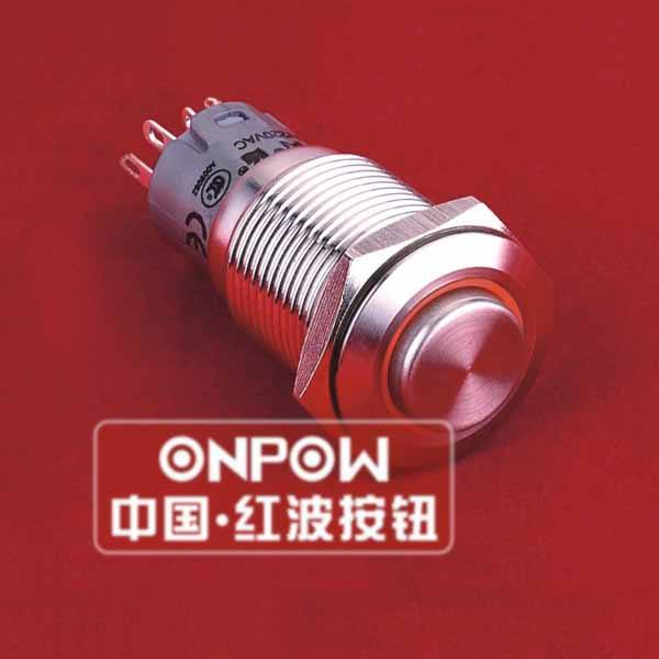 ONPOW 16mm circle illuminated SPDT stainless steel push button switch(LAS2-GQH-11E/R/12V/S) (Dia. 16mm)(CE,CCC,ROHS,REECH)