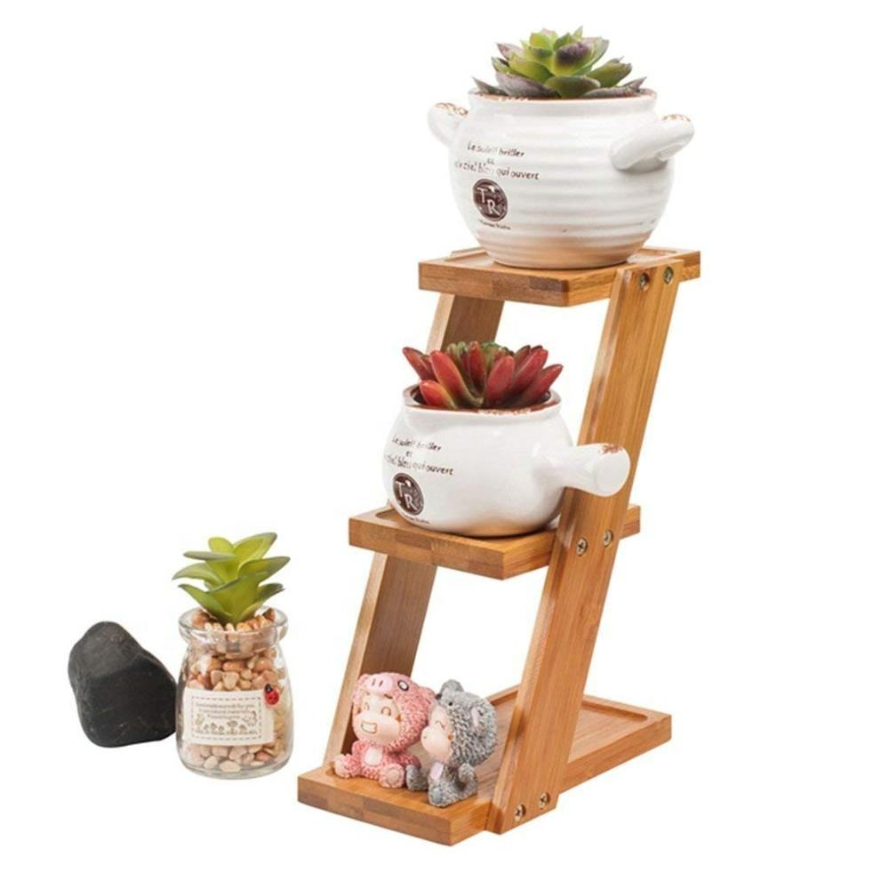 3 Tier Desk Planter Shelf for Plants, Small Succulent Pots Display Stand Bamboo Rack for Kitchen Bathroom