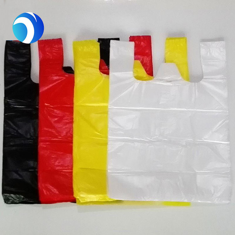 Factory Price eco nylon biodegradable shopping plastic bag t-shirt bag with printing