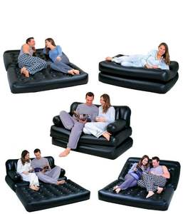 Bestway 75056 74'' x 60'' x 25'' inflatable air leather sofa 5 in 1 sofa bed with pump