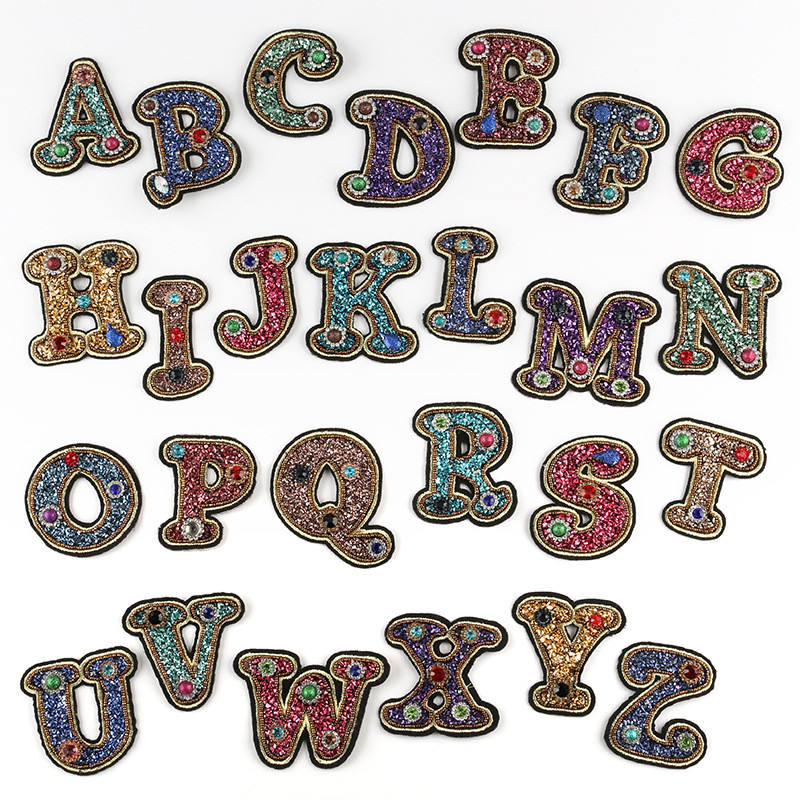 Custom Rhinestone English Alphabet Letter Mixed Embroidered Patch For Clothing Badge Paste For Clothes Bag Pant shoes