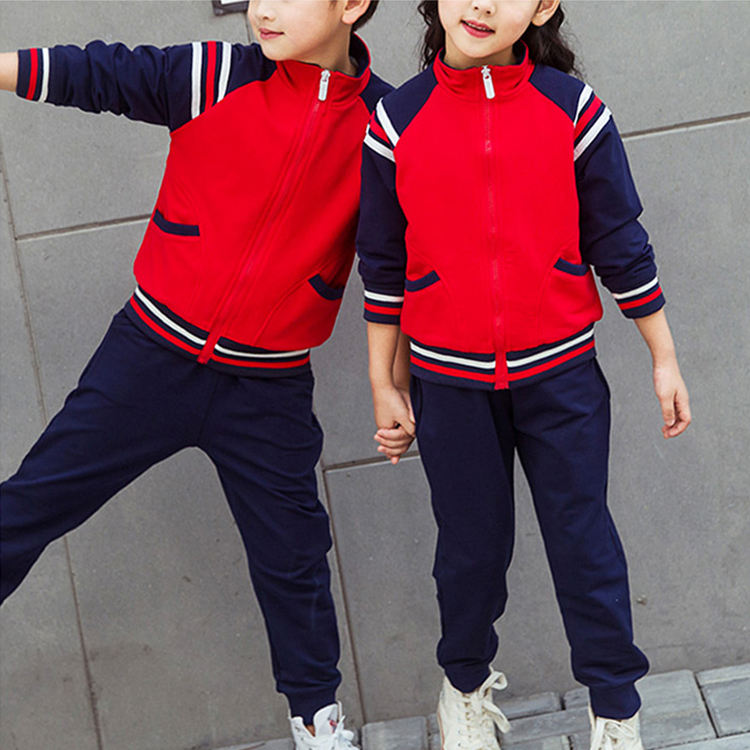 wholesale Outdoor team sport track cotton kids designer tracksuits school tracksuit