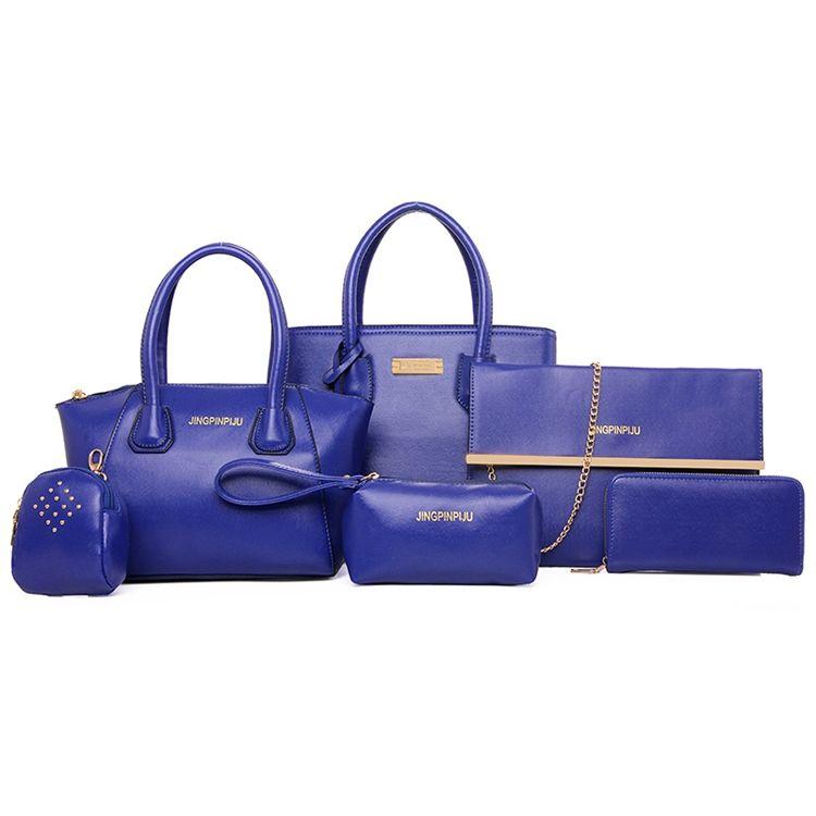2018 fashion 숙 녀 방수 손 백 6 개 pu leather tote 백 set women purse 핸드백