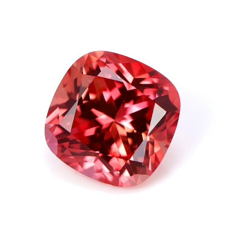 Padparadscha Corundum Cushion cut cz synthetic gemstones for jewelry making