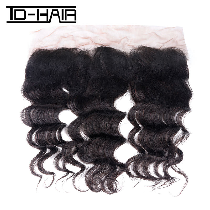 top grade brazilian human hair frontal natural hair lines plucked frontal transparent lace frontal loose wave 13*4 hair frontal