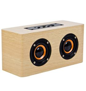 Speaker Bluetooth Nirkabel Portabel, Speaker Kayu Super Bass Besar dengan USB/SD/AUX & FM Radio BT- 002H