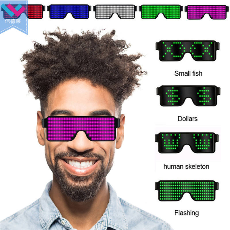 Recargable pantalla intermitente Led gafas Venta caliente 8 modos rápido Flash LED gafas de carga USB luminoso gafas