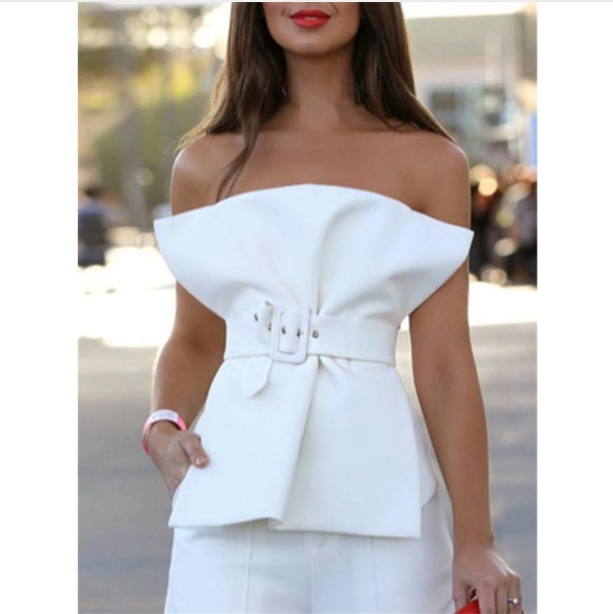 Women Blouses Tops Summer Sexy with Waist Belt Off Shoulder Backless Zipper Street Fashion White Black Solid Short Shirts 2019