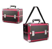Professional Suitcase Large Multi-function Aluminum Cosmetic Case Cosmetic Kit,Pink
