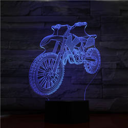 Motor bike motorcycle shape 3D decoration Lamp 3D illusion black plastic base 7 color light Christmas day birthday gift