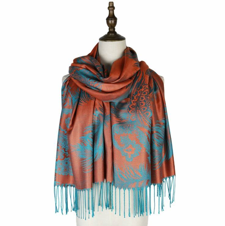 Colorful paisley Jacquard cotton pashmina Women Wrap Shawl tassels Scarves
