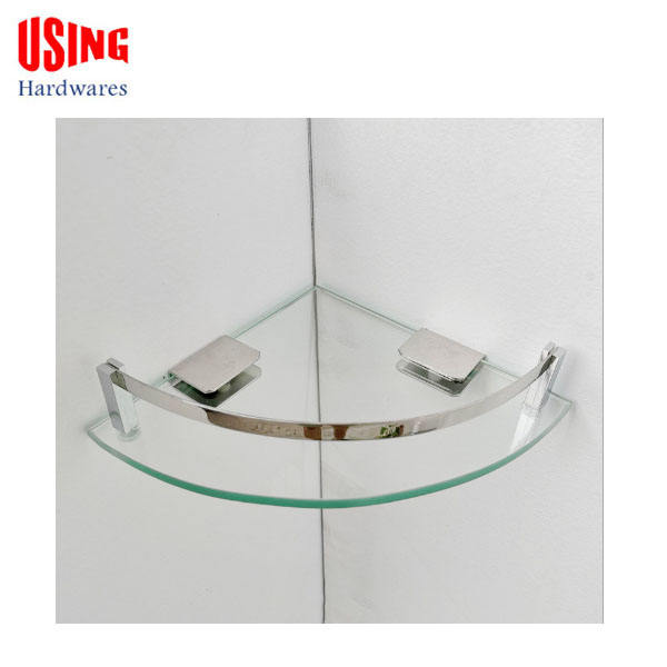 Sanitary glass corner bathroom shelf in factory price