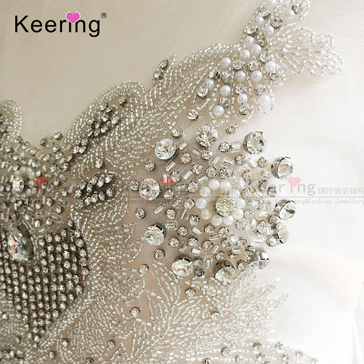 High Quality Handmade crystal Pearl beaded rhinestone applique patches for Bridal WDP-135