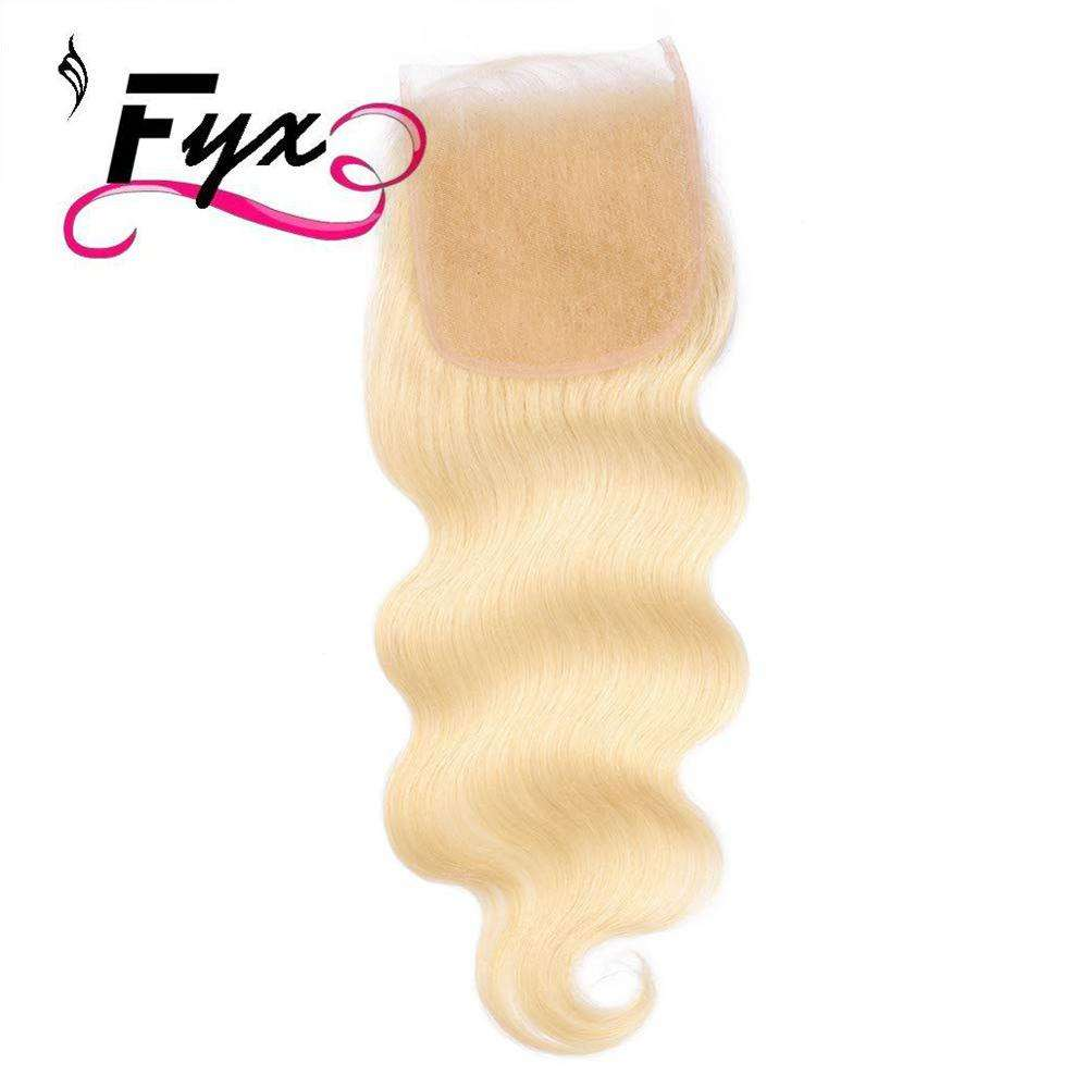 Lace Closure Body Wave 5x5 Brazilian Human Hair Blonde Top Closure with Baby Hair Bleached Knots Free Part Hairpieces