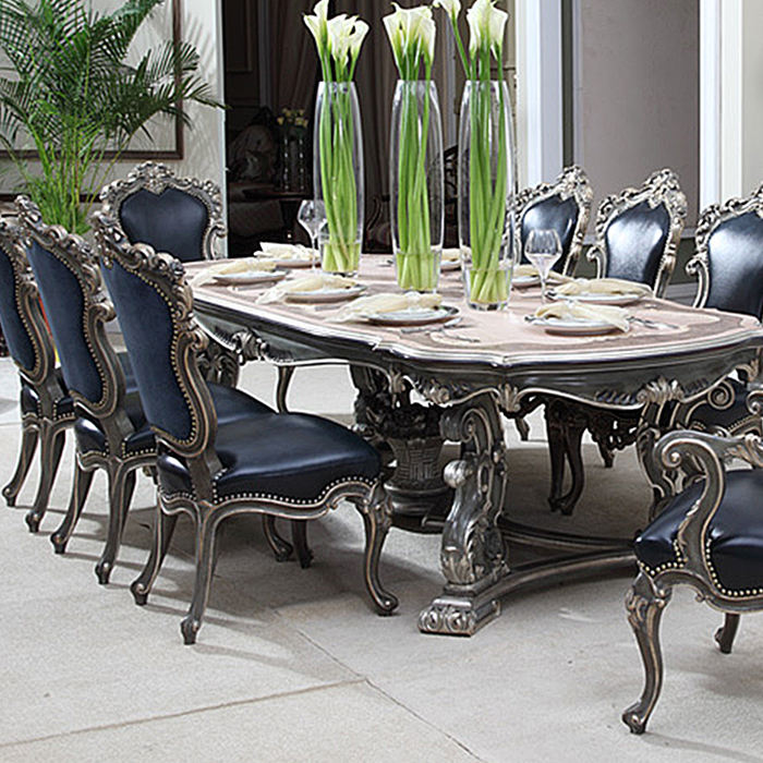 Luxury wooden carving dining table set homes furniture