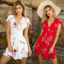 New Summer   Women Short Sleeve Mini Dress Casual Party Evening V neck High Waist Chiffon Short Mini Dresses
