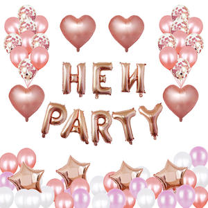 Neue Großhandel Rose Gold Hen Party Dekoration 16 zoll Brief Folie Ballon Set Herz Konfetti Luftballons Hen Party Supplies